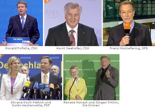 Reaktionen zur Europawahl: Ronald Pofalla, Horst Seehofer, Franz Müntefering, Guido Westerwelle, Jürgen Trittin