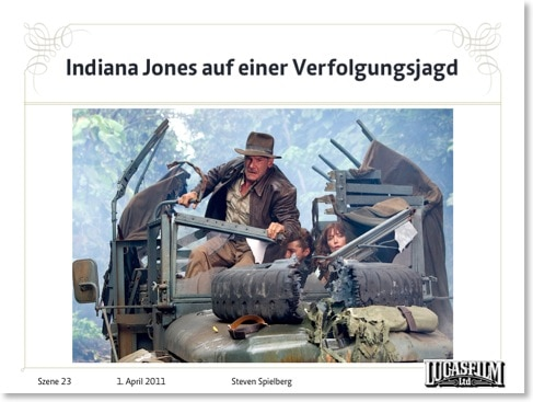 Indiana-Jones-Szene mit Corporate Design