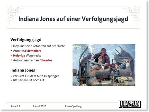Indiana-Jones-Szene mit viel Text