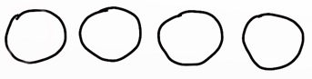 Vier Kreise repräsentieren vier Köpfe