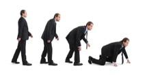 """Erwachsene Männer werden zu """"krabbelnden"""" Vortragenden"""