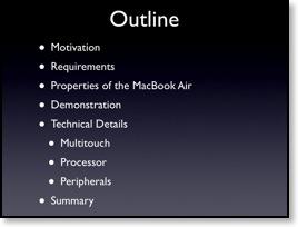 Mögliche Gliederungsfolie für die Macworld-Keynote