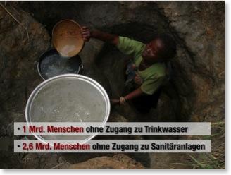 Vorher-Folie: Frau schöpft dreckiges Wasser