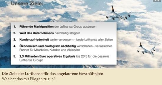 Die Ziele der Lufthansa für das angelaufene Geschäftsjahr. Was hat das mit Fliegen zu tun?