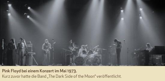 """Pink Floyd bei einem Konzert im Mai 1973. Kurz zuvor hatte die Band """"The Dark Side of the Moon"""" veröffentlicht."""