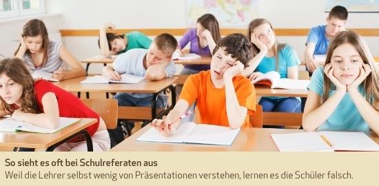 So sieht es oft bei Schulreferaten aus. Weil die Lehrer selbst wenig von Präsentationen verstehen, lernen es die Schüler falsch.